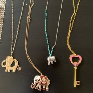 Jewelry - Various pendant necklaces: key and elephant